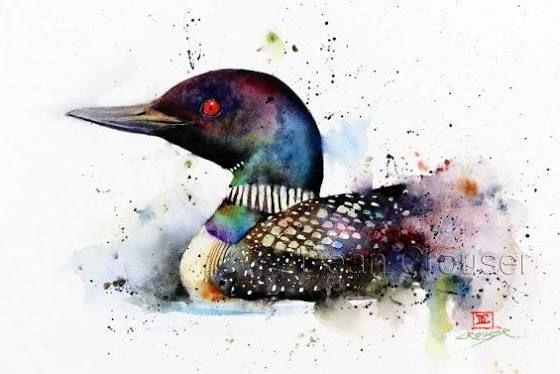 dean crouser watercolor loon
