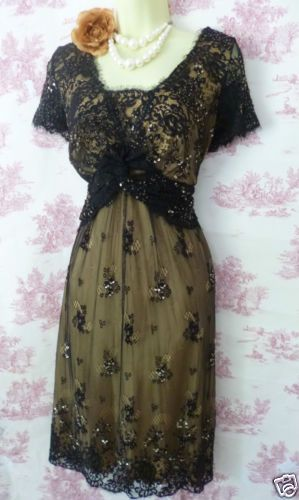 40's 50's Vintage Style Mad Men Wiggle Gatsby Bead Black Nude Lace Dress 14 16 | eBay