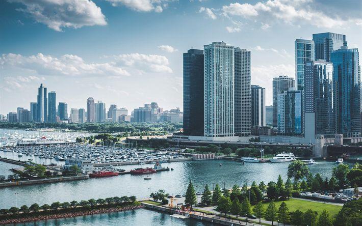 壁紙をダウンロードする シカゴ, 米, ミシガン湖, 高層ビル群, 埠頭, イリノイ, 米国