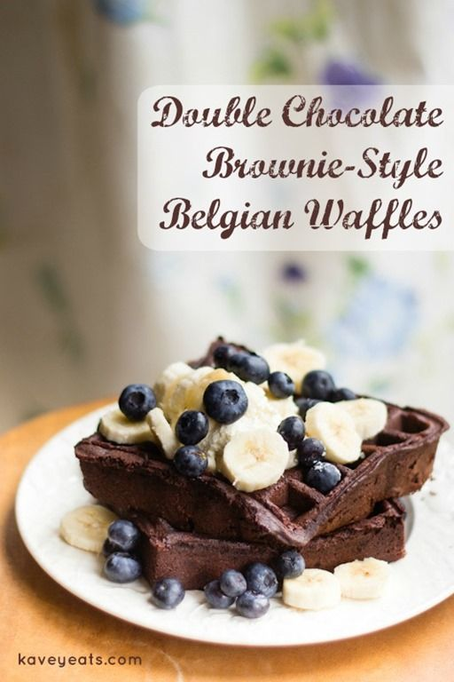 Double Chocolate Brownie-Style Waffles | Kavey Eats | This recipe produces a super rich chocolate waffle that's not as sweet as you'd assume given the 100 grams of sugar. The 'double chocolate' comes from cocoa powder and chocolate chips and the soft interior and crisp exterior are exactly what's promised by 'brownie-style'.