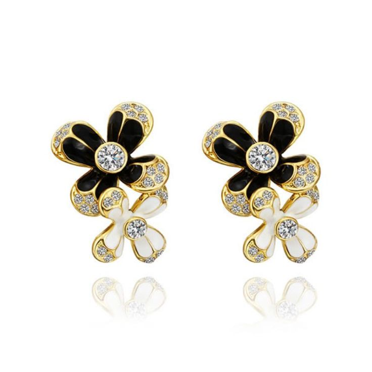 Wedding Jewelry WomenBlack Ceramic Elegant Stud Earrings  Gold Color Flower Austrian Crystal Stud Earrings For Women