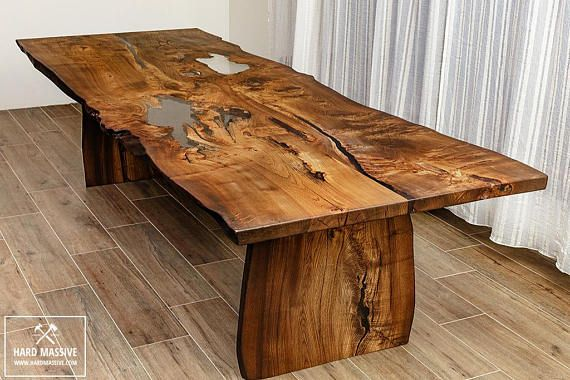 Modern Wooden Dining Table Made Of Solid Wood Ash With A Live Edge Table In Rustic Style For 8 Person Cracks Dining Table Wood Dining Table Dining Table Legs