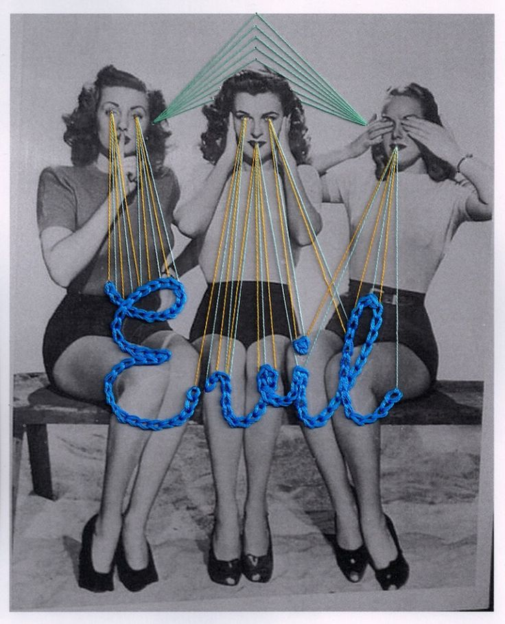Jose Romussi Some of his work creates a subtle sense of darkness whilst working with femininity, the human form and nature. I like how in this piece the way 'evil' is written in an upbeat bold blue with a rather feminine font such as the curves are gracious and loose.