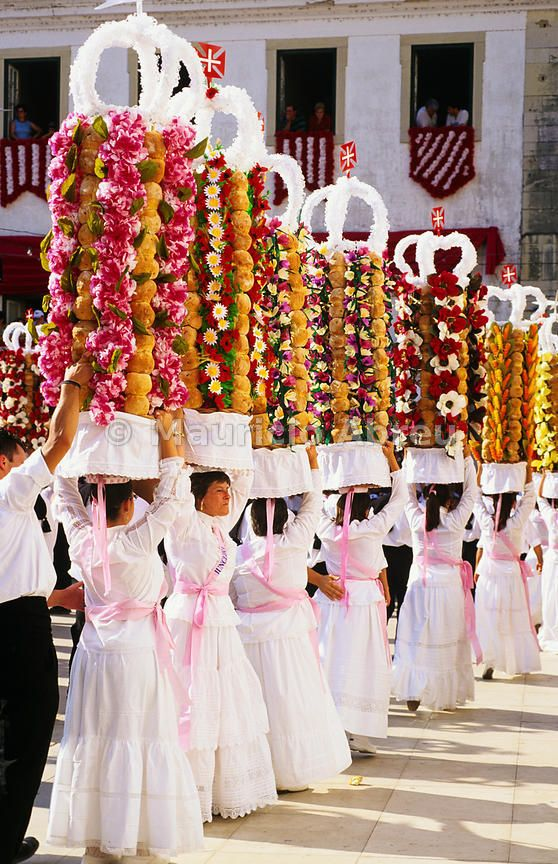 Tabuleiros festivities. Takes place every four years in July. This festival is an ancient tradition, and the most important celebrated in the city of Tomar. |  Portugal