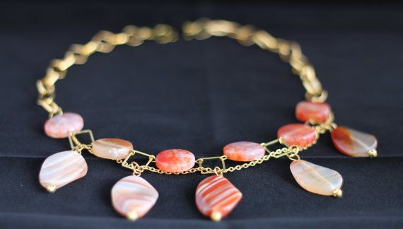 Orange- apricot quartz necklace, by NotYourMomsJewellery on Etsy