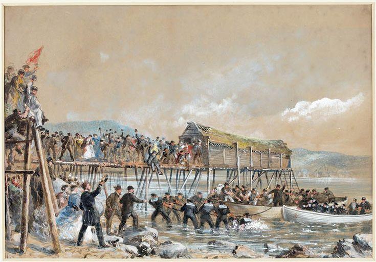 Arrivée du câble transatlantique à Heart's Content, Terre-Neuve, 1866. Bibliothèque et Archives Canada, no d'acc R9266-175 Collection de Canadiana Peter Winkworth.