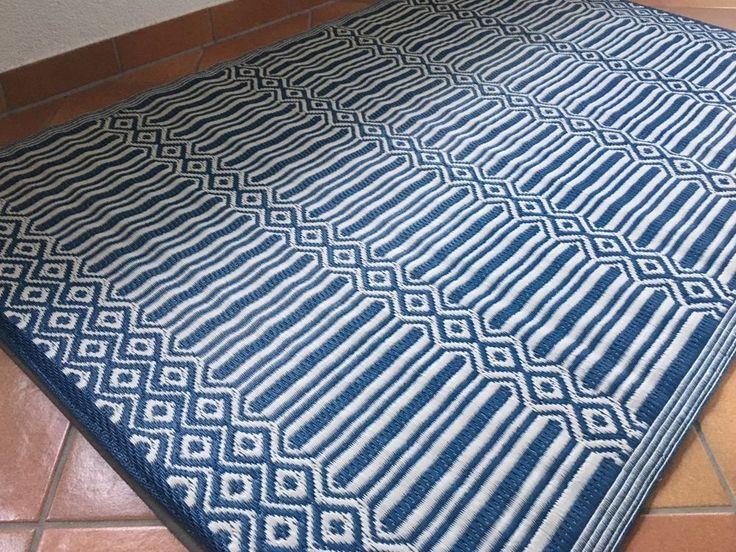 XL Outdoor Teppich Läufer Mit Tollem Muster Blau/weiß 120x180cm