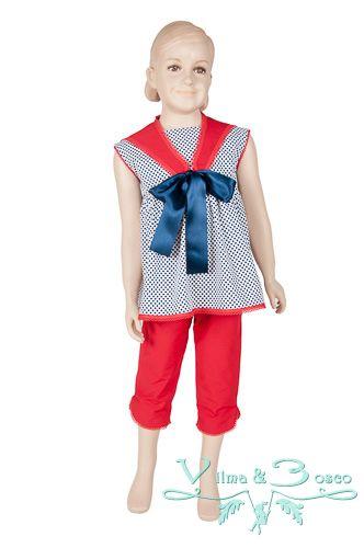 Vilma & Bosco ~ Colección Primavera Verano 2014 | #Conjunto de niña- Familia #Marina | #Moda #infantil, diseños para bebés, niños y niñas hasta los 10 años | #celebraciones