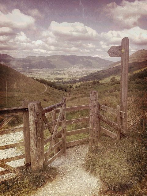 A kissing gate. River Derwent Valley From Latrigg Lake District Cumbria, UK. By Woodtyke, so beautiful