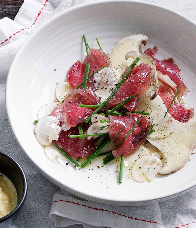 Australian Gourmet Traveller Spanish tapas recipe for cured tuna with mushrooms.