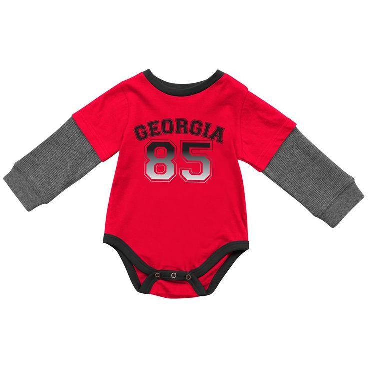 Georgia Bulldogs UGA Infant Onesie Long Sleeve Layered Sleeper