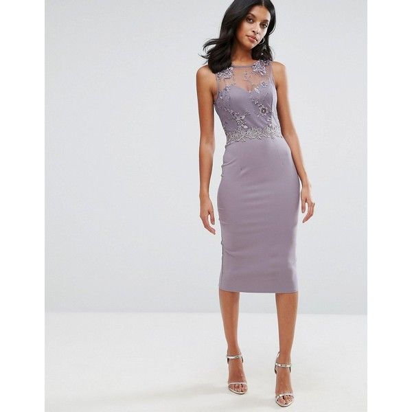 Little Mistresss Lace And Embroidered Midi Dress ($73) ❤ liked on Polyvore featuring dresses, grey, lace cocktail dresses, see through dress, grey lace dresses, midi cocktail dress and grey bodycon dress
