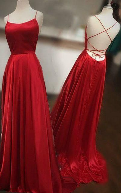 Backless Red A Line Prom Dress, Red Prom Gowns, Long Evening Dress