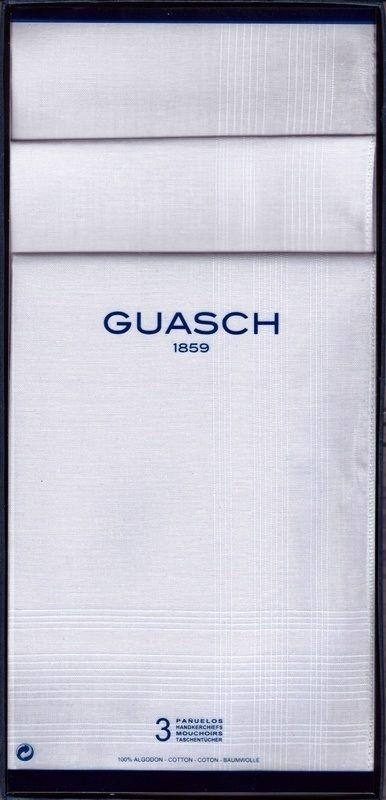 Caja con 3 pañuelos Guash - Caja clásica con 3 pañuelos confeccionados en hilo 100%algodón - Rematados a máquina y un tamaño de 43x43 cm - Ref: 170.52P. #regalos #hombre http://www.varelaintimo.com/43-panuelos