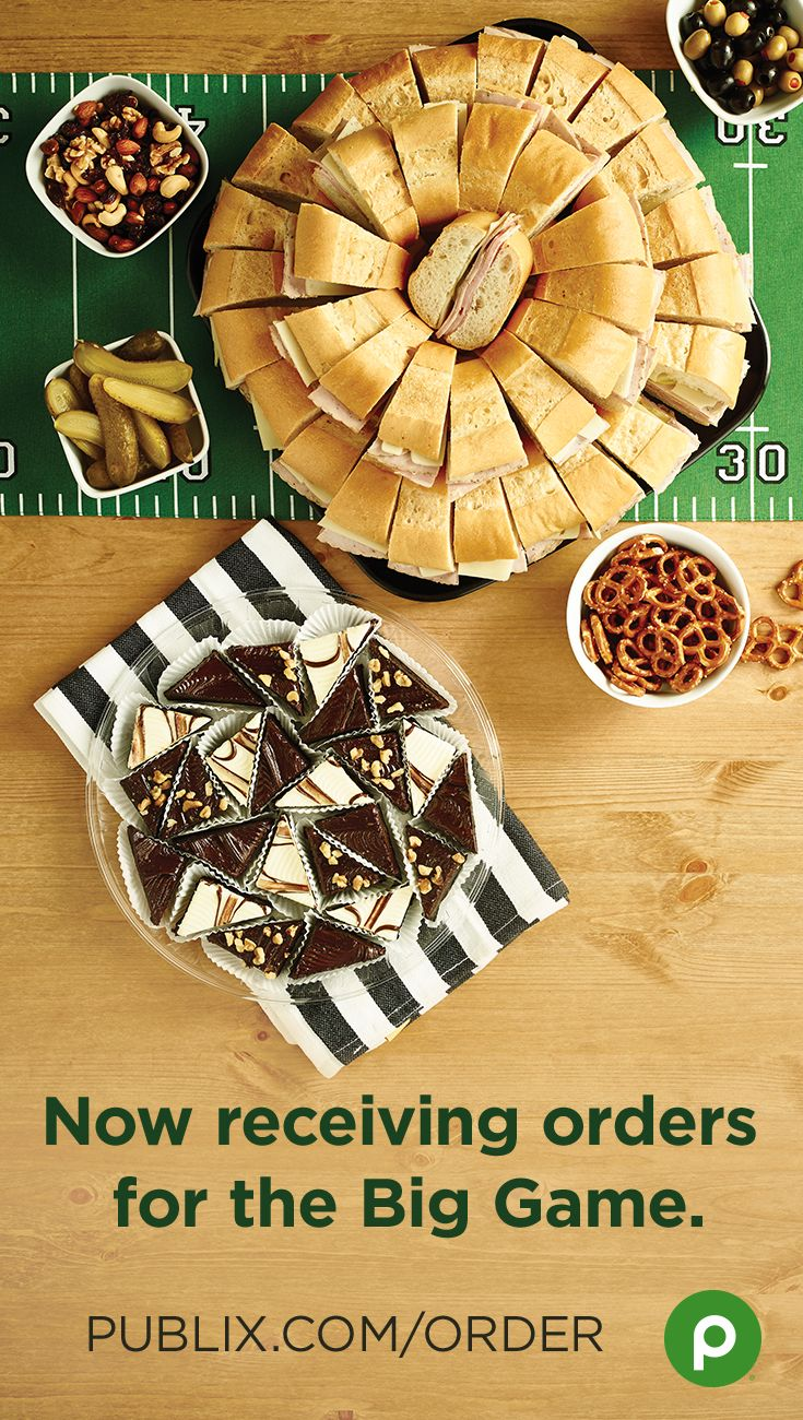 Subs, platters, desserts, and more! Order food for the Big Game with Publix Online Easy Ordering. Then pick up your selections the next day. It's super easy.