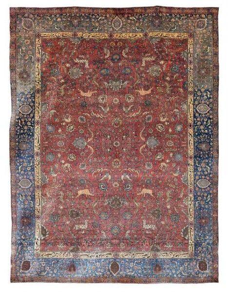 Lot 258, A SILK AND METAL THREAD KUM KAPI RUG, Istanbul, Turkey, circa 1910, 179 x 127 cm. Bonhams Islamic sale including carpets 7 October 2014