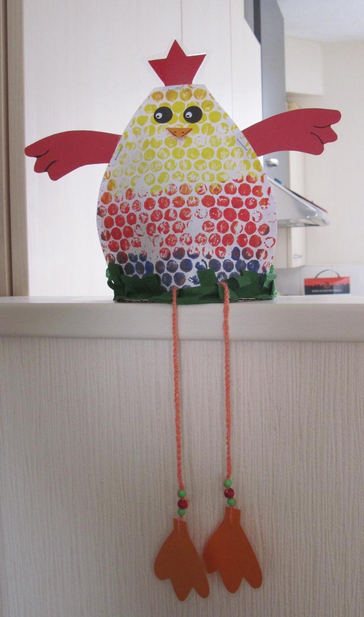 Pintat amb plàstic de bombolles.