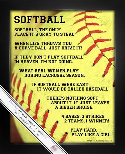 """Inspire your softball girl with Softball Player Sayings PosterPrint. """"When life throws you a curve ball, just drive it!"""" is one funny softball quote on this poster.Decorate your walls and show team"""