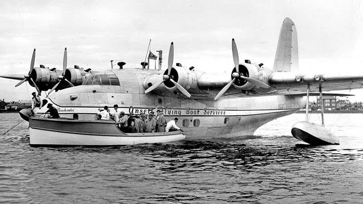 Ansett Sandringham Flying Boat VH-BRC moored off St Kilda beach, Melbourne in March 1953.                                                      The Collection p6767-0044