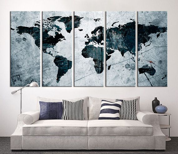 Best Large Wall Art World Map Canvas Print Images On Pinterest - World map canvas