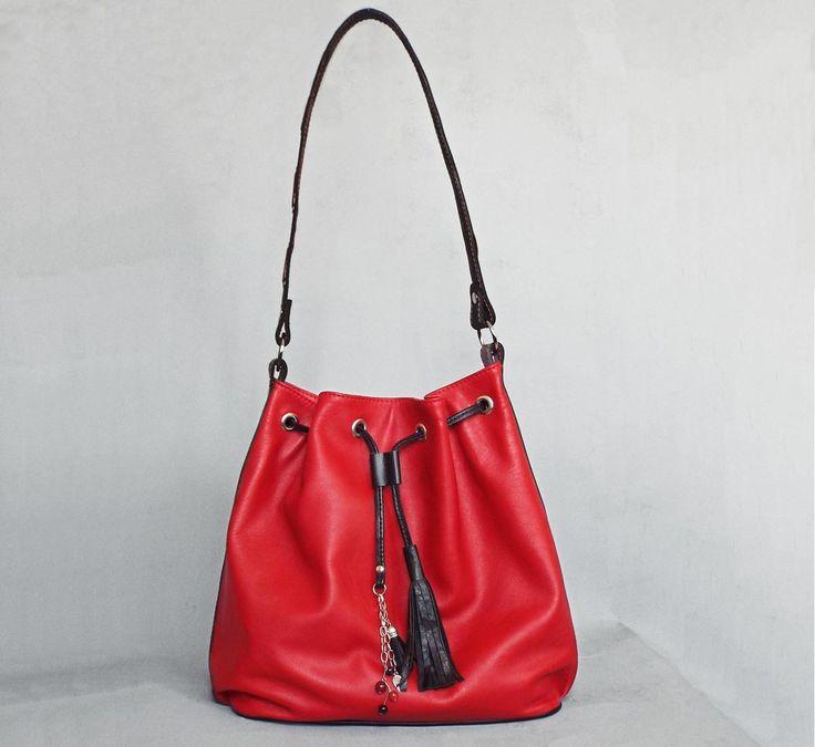 Red leather drawstring bag. Red hobo leather bag. Red black leather shoulder purse. - 5plus