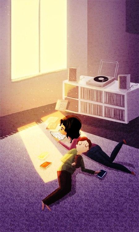 by Nidhi Chanani (reading, book, couple, home), парочка читает книги, парень девушка книги http://lavkabooks.com.ua