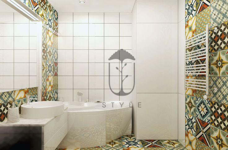 Ванная комната в эклектическом стиле. Белоснежная керамика санузла прекрасно сочетается с восточными национальными мотивами.