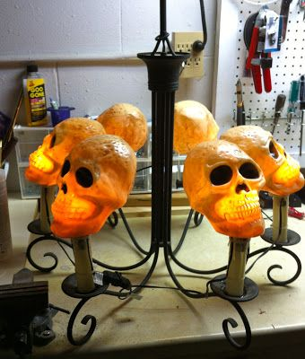 Halloween Skull Chandelier--candle chandelier, solar lights, plastic skulls