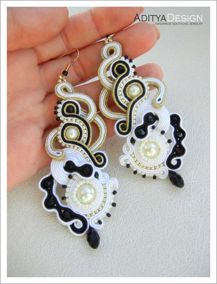 Soutache Earrings, Black Gold, Bridal Earrings, Dangle Earrings, Beaded Earrings, White Black, Gold Earrings