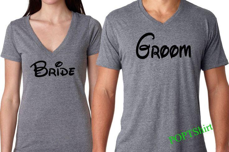 Disney Bride Groom Shirts, Disney Fan Bride and Groom Tshirts, Disney Couple Shirts Wifey Bride Groom Disney Shirts, Newly Wed Couple Shirts by PopTshirt on Etsy https://www.etsy.com/listing/267168126/disney-bride-groom-shirts-disney-fan