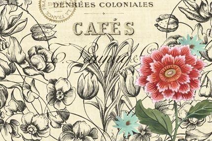 Vintage Toile Flowers-horizontal 2 by Jennifer Brinley | Ruth Levison Design