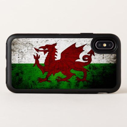 Black Grunge Wales Flag OtterBox Symmetry iPhone X Case - black gifts unique cool diy customize personalize