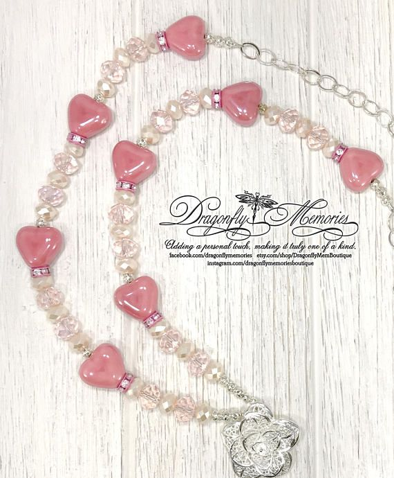 Sweetheart Valentine Silver Plated Rose with tassel Pink Heart