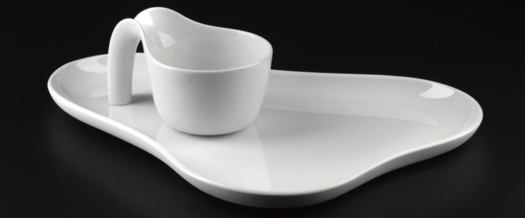 OLE mug and platter, Designed by Ole Jensen for Royal Copenhagen, Denmark, 1997. #Design #Ceramics #Nordic #Modernist