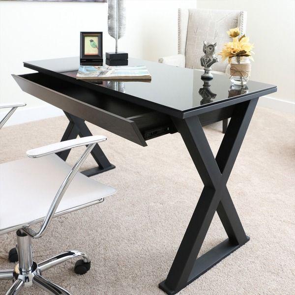 vanity for master bedroom. 48-inch Black Glass Computer Desk