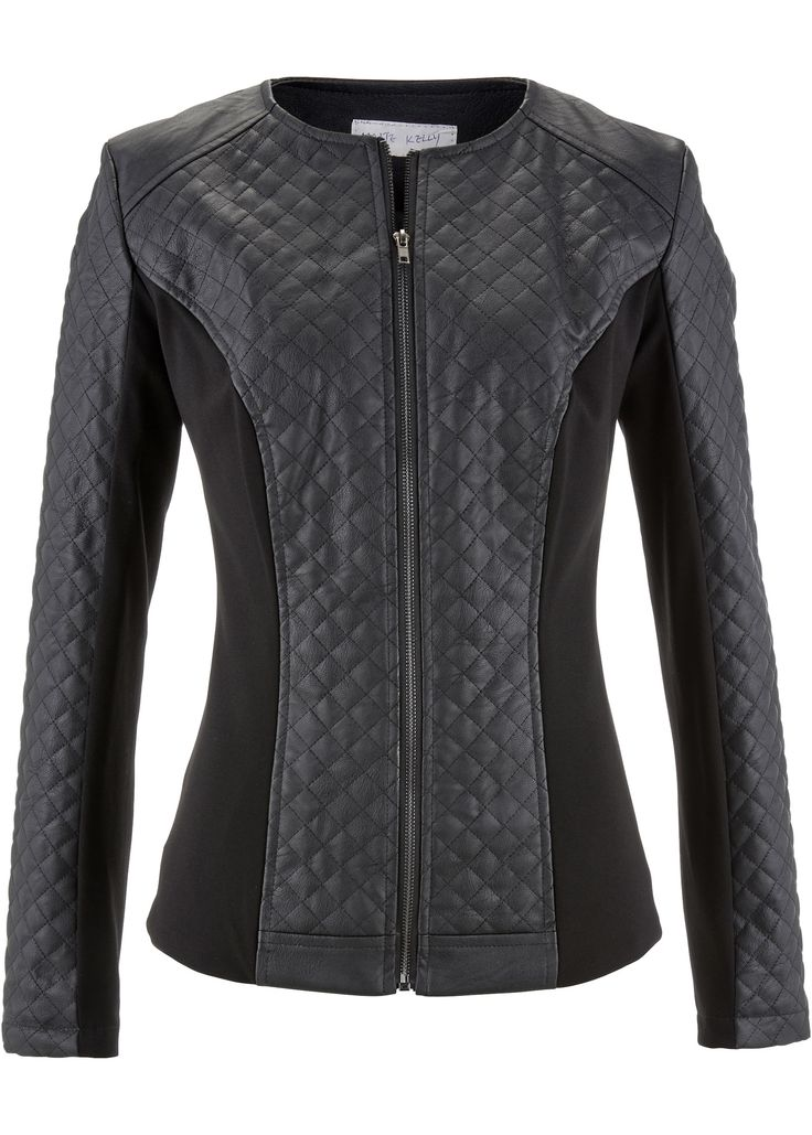 Stretch-Lederimitat-Jacke, Design: Maite Kelly schwarz - Damen - bonprix.at
