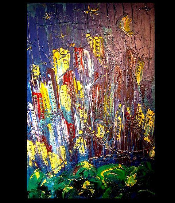 MANHATTAN Abstract Painting Original Heavy Texture Impasto
