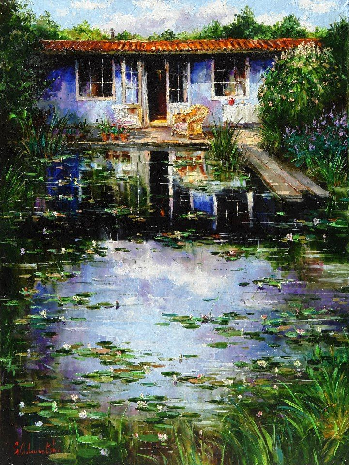 Russian artist Gleb Goloubetski   Summer house 160x120 2006