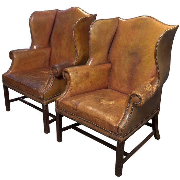 Pair of English Leather Wingback Chairs England Circa 1910-1920