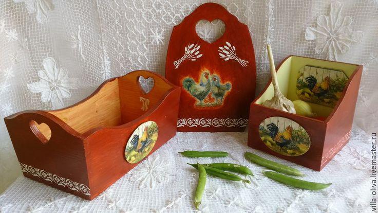 Купить Хлебница, подставка для специй, доска Петухи - кухня Прованс, кухонный интерьер, кухонные принадлежности