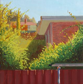 """Neighbouring Gardens Under Afternoon Sunlight by Charmaine P Jackson Oil on 6""""x6"""" linen"""