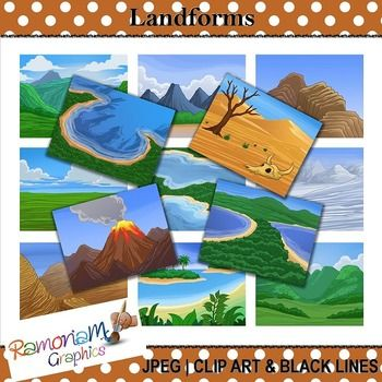 This set contains 13 of the most well known types of landforms. Each image is in color as well as black and white. JPEG format and 300dpi. Great for scrapbooking, educational resources, photography, cards, printables - whatever you like!
