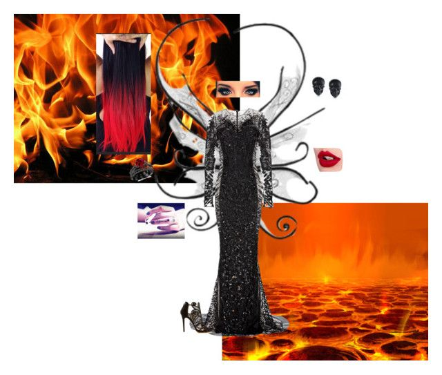 Fire Fantasy Fairy by awesomekittypower on Polyvore featuring moda, Zuhair Murad, Tabitha Simmons, Tarina Tarantino and Charlotte Tilbury