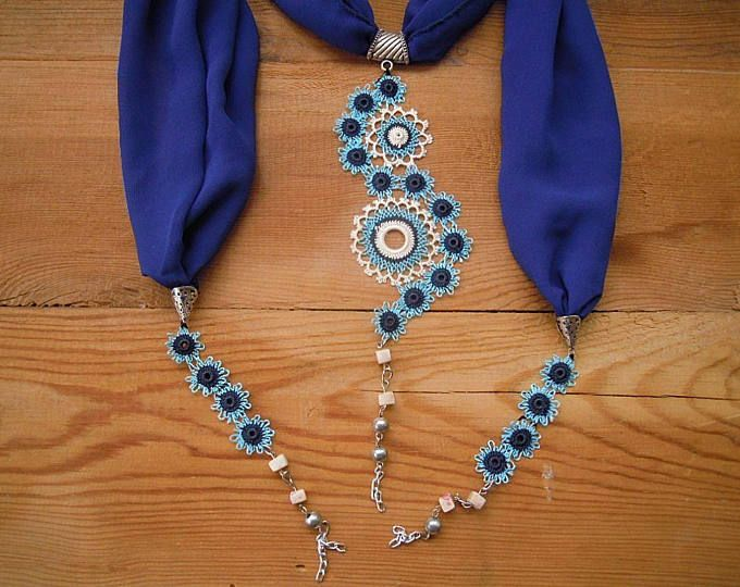 blue lariat necklace, oya needle lace circles