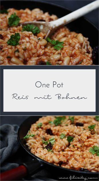 Ein einfaches One Pot Rezept mit Reis und weißen Bohnen. Einfach alles in einen Topf geben und in 20 Minuten eine vollwertige Mahlzeit genießen. #vegan #onepot