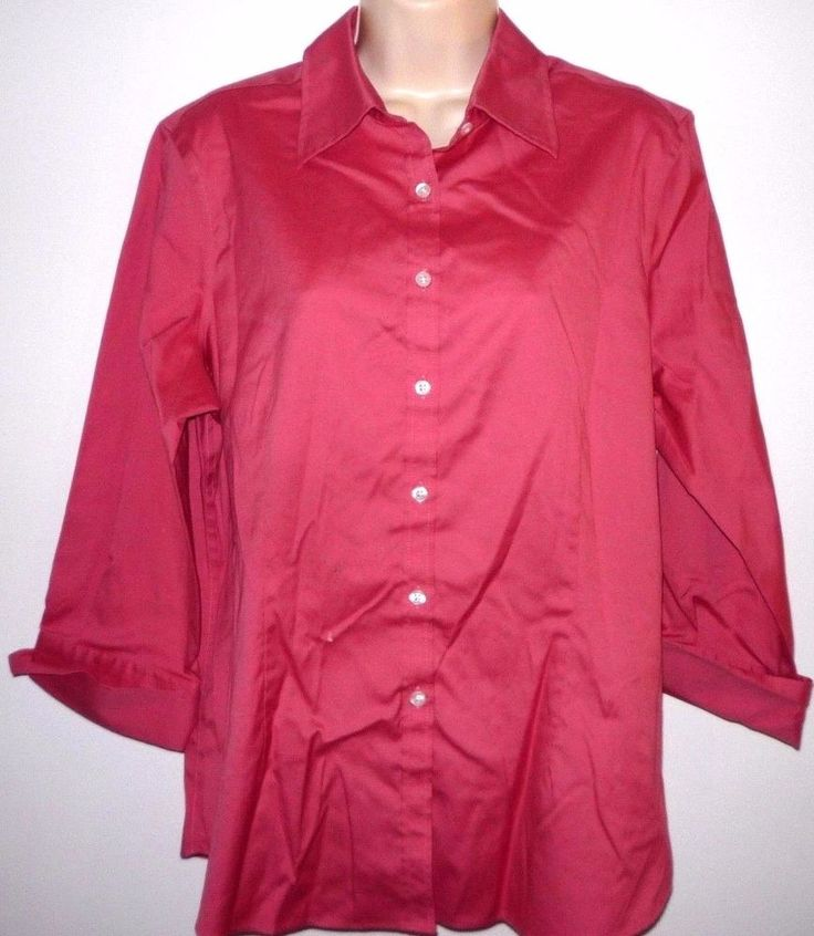 KIRKLAND WOMEN'S OXFORD 3/4 SLEEVE DRESS SHIRT BLOUSE XXL PINK TAILORED FIT B105 #KIRKLANDSIGNATURE #34SLEEVEOXFORDBLOUSE #EveningOccasionCasual