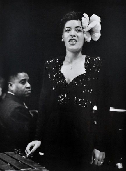 1944 photo of Billie Holiday on stage at the Metropolitan Opera House