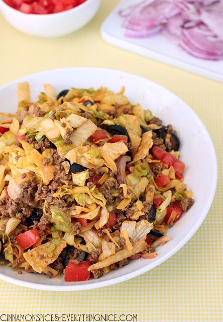 Taco Salad 1 pound lean ground beef or turkey 1 package msg-free taco ...