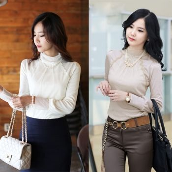 Korean Lace Highneck Knitwear Bottoming Shirt T-shirt Tops