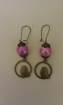 Boucles BIRDS rose bonbon :-) 7€